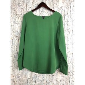 Ann Taylor Green Long Sleeve Blouse